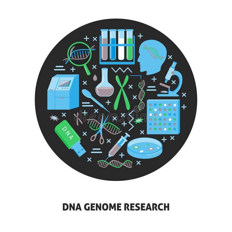 Rundes Konzept der DNA-Genomforschung in der flachen Art lizenzfreie abbildung