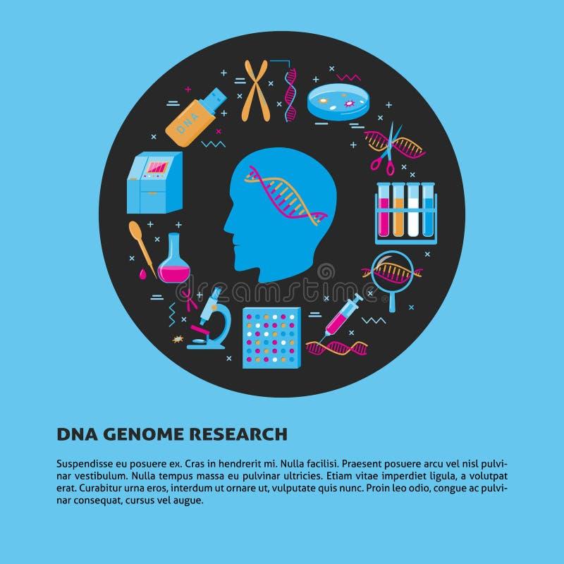 Rundes Konzept der DNA-Genomforschung in der flachen Art vektor abbildung