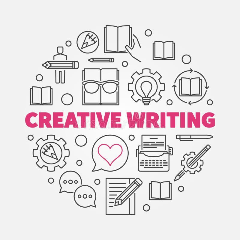 Rundes Konzept Zeilendarstellung des kreativen Schreibensvektors vektor abbildung