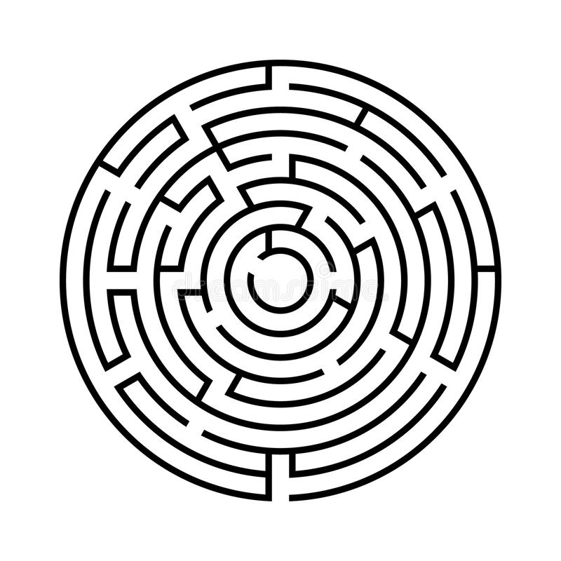 Rundes Labyrinth Getrennt auf weißem Hintergrund Vektor Illustratio vektor abbildung