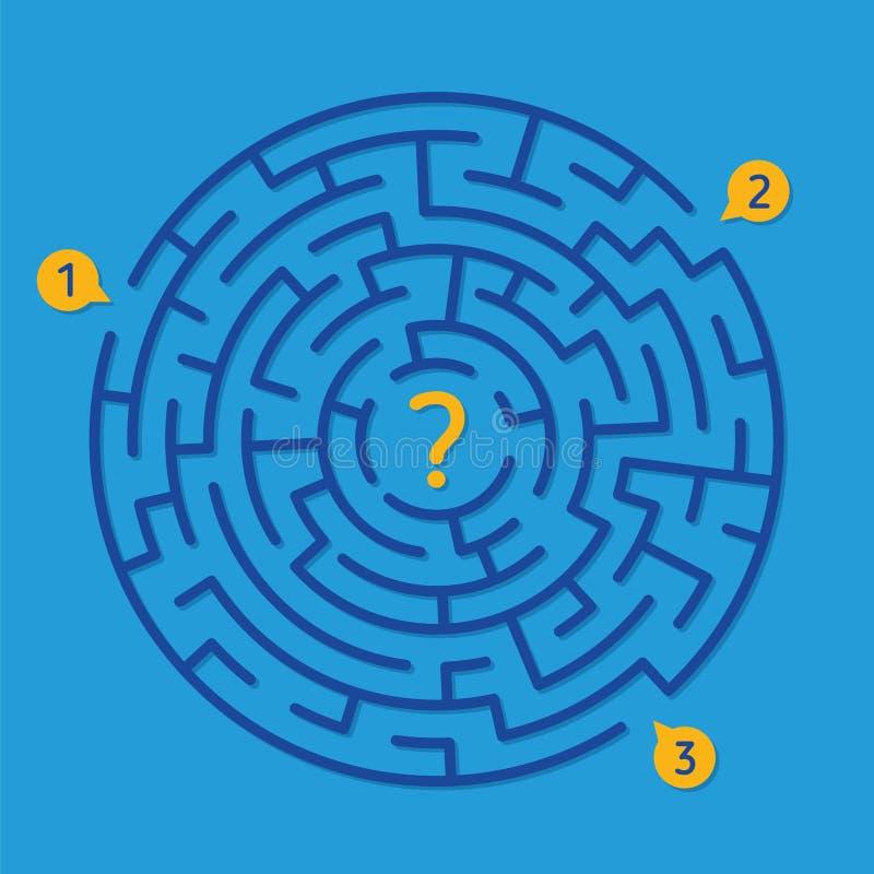 Rundes Labyrinthlabyrinthspiel, finden den richtigen Weg stock abbildung