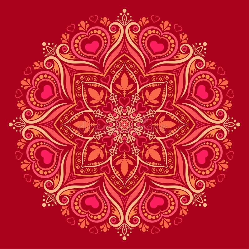 Rundes Mandalamuster mit den Herzen verwoben in der bunten Verzierung stock abbildung