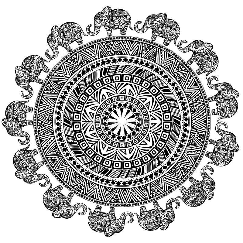 Rundes Muster mit ethnischen Elementen und Elefanten stock abbildung