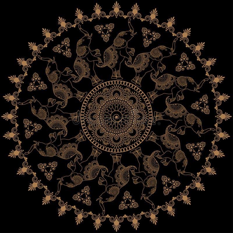 Rundes Muster mit mehandi Hennastrauchelefanten in der indischen Art Vektor-Illustration lokalisiert auf schwarzem Hintergrund lizenzfreie abbildung