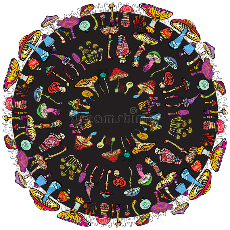 Rundes Muster mit Pilzen stock abbildung