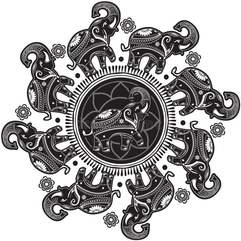 Rundes Muster mit verzierten Elefanten lizenzfreie abbildung
