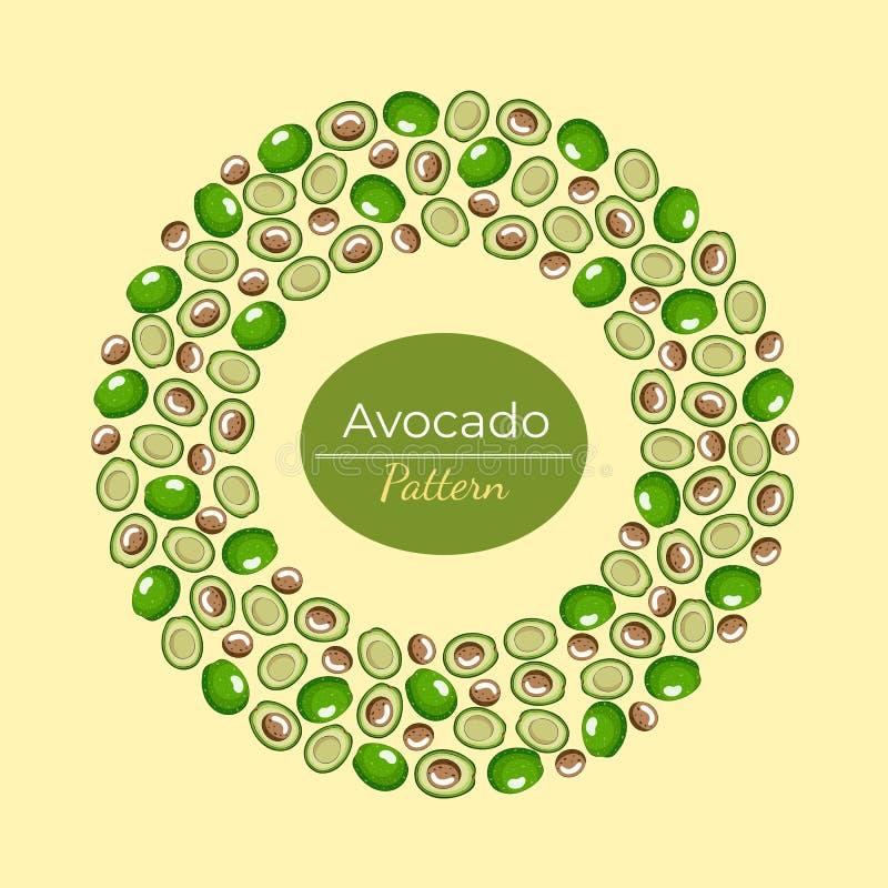 Rundes Muster und Hälften der grünen Avocado auf einem gelben Hintergrund stock abbildung