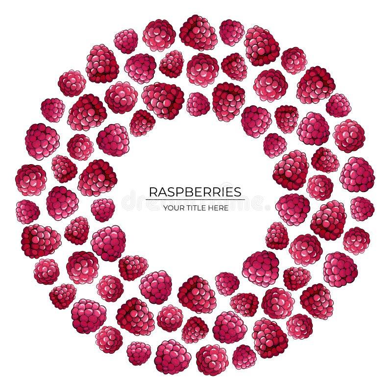 Rundes Muster von rosa Himbeerbeeren auf einem weißen Hintergrund lizenzfreie abbildung