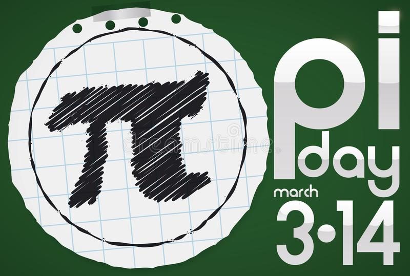 Rundes Notizbuch-Papier mit PU-Symbol für PU-Tagesfeier, Vektor-Illustration lizenzfreie abbildung