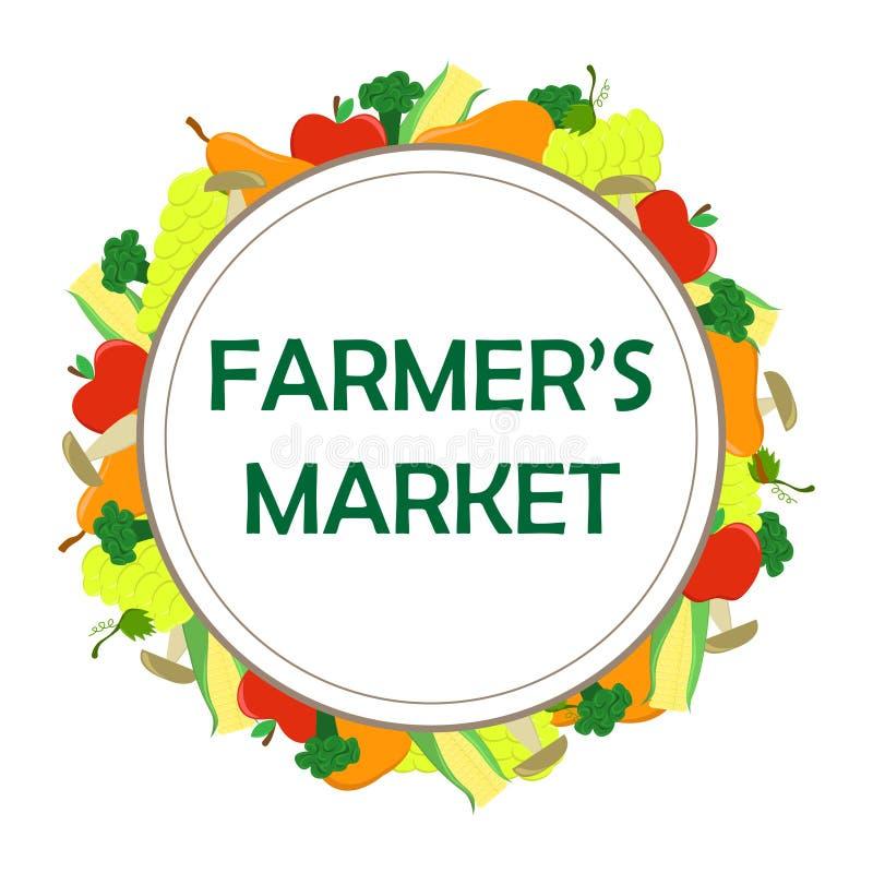 Rundes Plakat für den Landwirtmarkt mit Saisongemüse lizenzfreie abbildung
