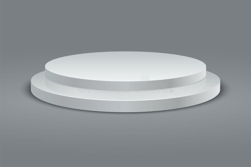 Rundes Podium Runder Sockelsatz des Siegers zweistufige Plattform 3D auf grauem Hintergrund Vektor lizenzfreie abbildung