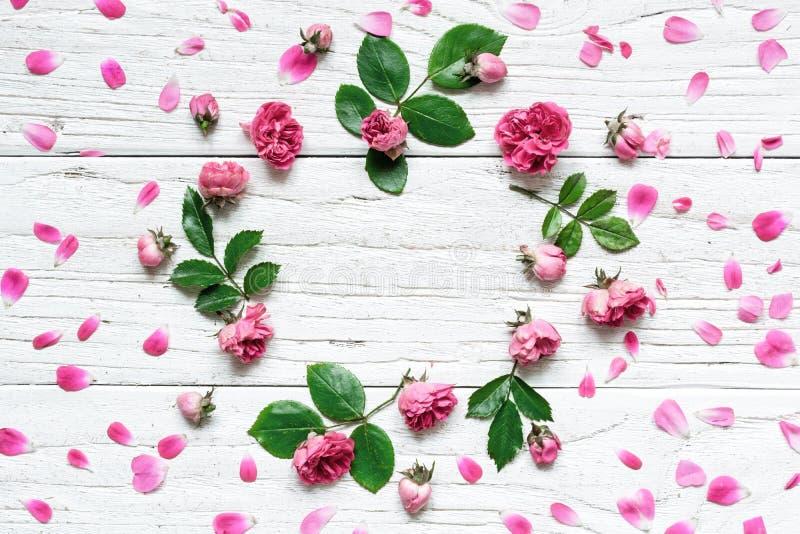 Rundes Rahmenblumenmuster mit Rosen blüht, Knospen, Blumenblätter, Niederlassungen und Blätter lizenzfreies stockfoto
