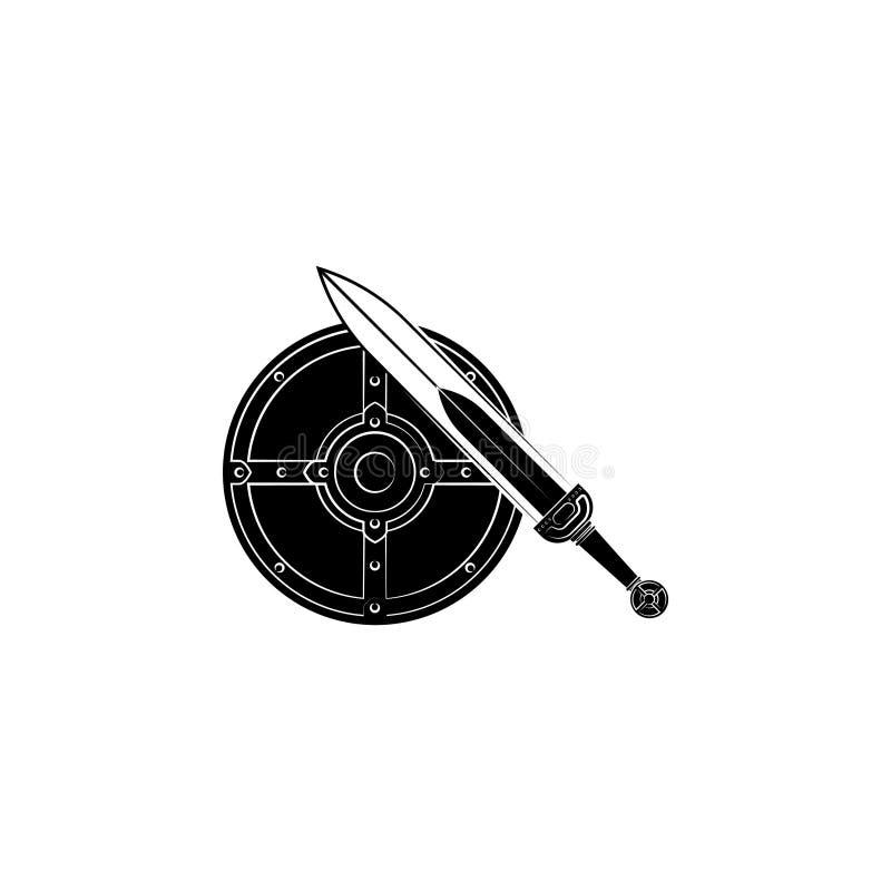 Rundes Schild und Klinge lizenzfreie abbildung