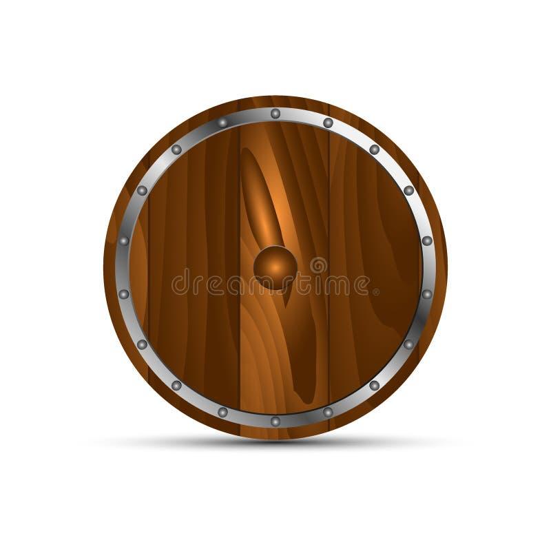 Rundes Schild vom Holz lizenzfreie abbildung