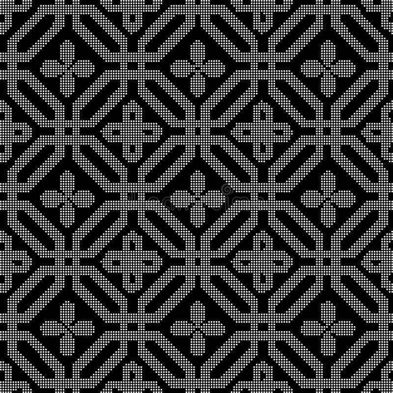 Rundes schwarzes nahtloses Hintergrundachteck-Polygonhalbtonkreuz f stock abbildung