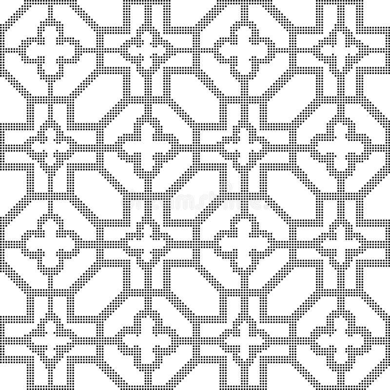 Rundes schwarzes nahtloses Hintergrundkreuz-Blumenhalbtonachteck lizenzfreie abbildung