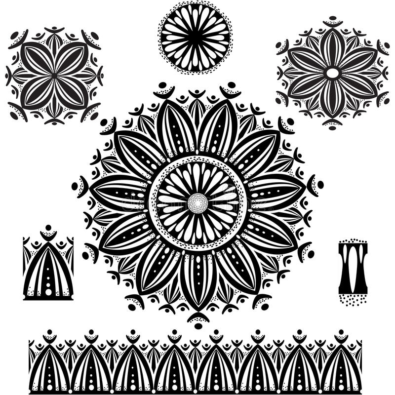 Rundes Verzierungs-Muster mit Musterbürste stock abbildung