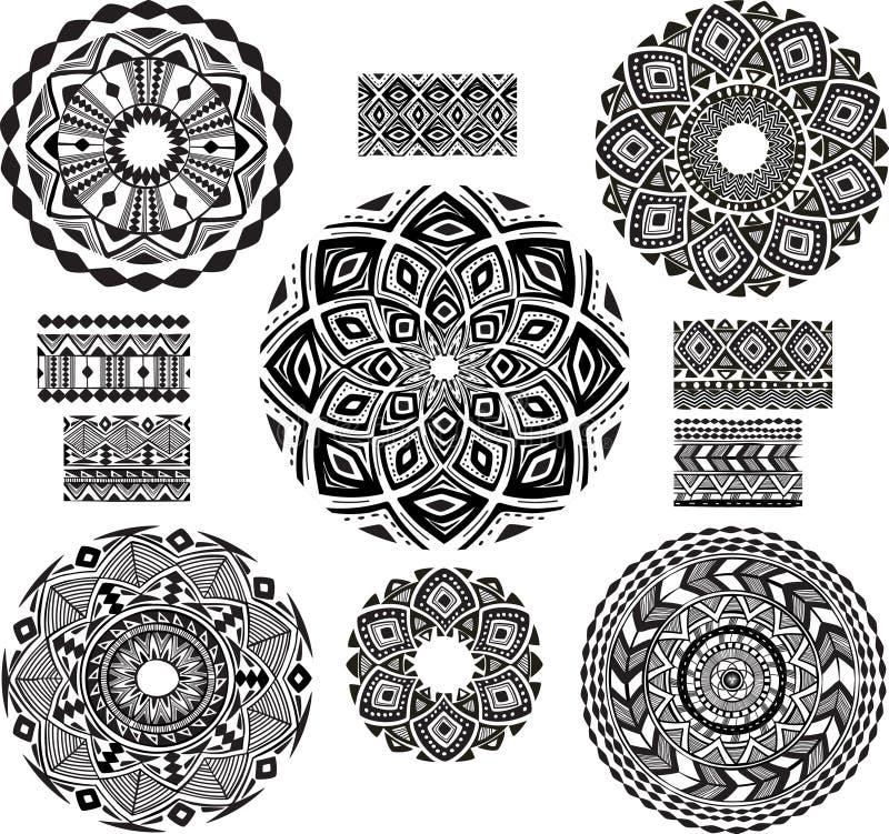 Rundes Verzierungs-Muster mit Musterschotter lizenzfreie abbildung