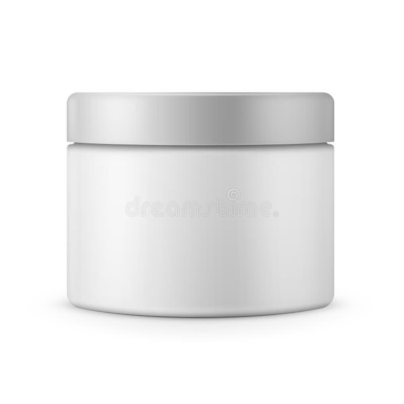 Rundes weißes Mattplastikglas für Kosmetik stock abbildung