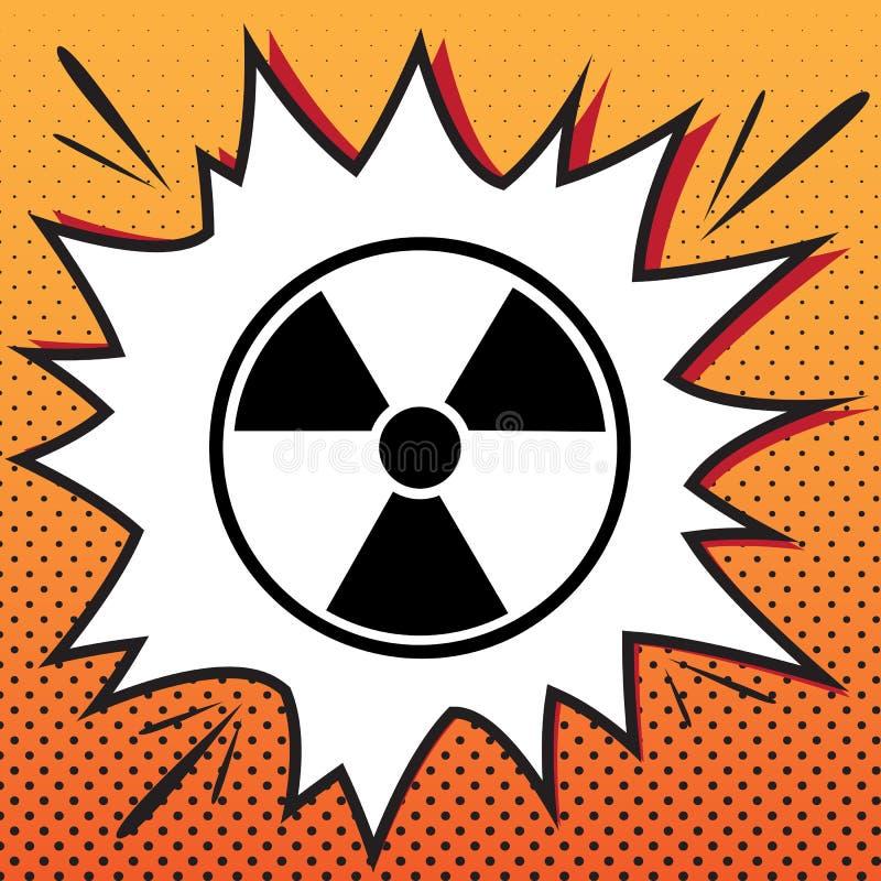 Rundes Zeichen der Strahlung Vektor Comicsartikone auf Pop-Art backg lizenzfreie abbildung