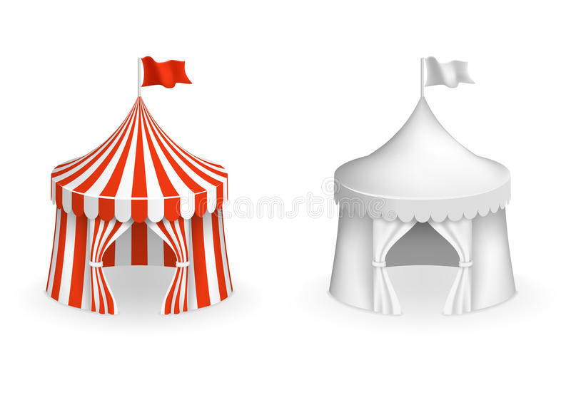Rundes Zirkuszelt Festival mit Eingangsvektorillustration vektor abbildung
