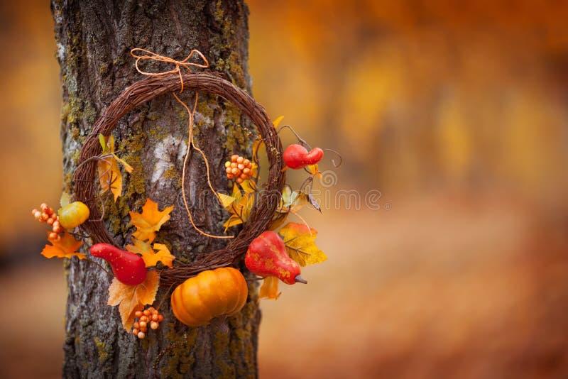 Rundkranz mit dem natürlichen Baum auf Fallhöhe Sonniger Herbsttag, Tageslicht Leerzeichen kopieren stockfoto