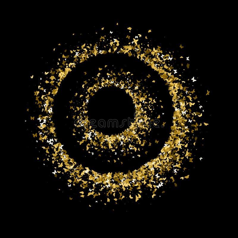 Rundor av guld- blänker fjärilar Gula guld- texturkonturer för härlig sommar på svart bakgrund för vektor illustrationer