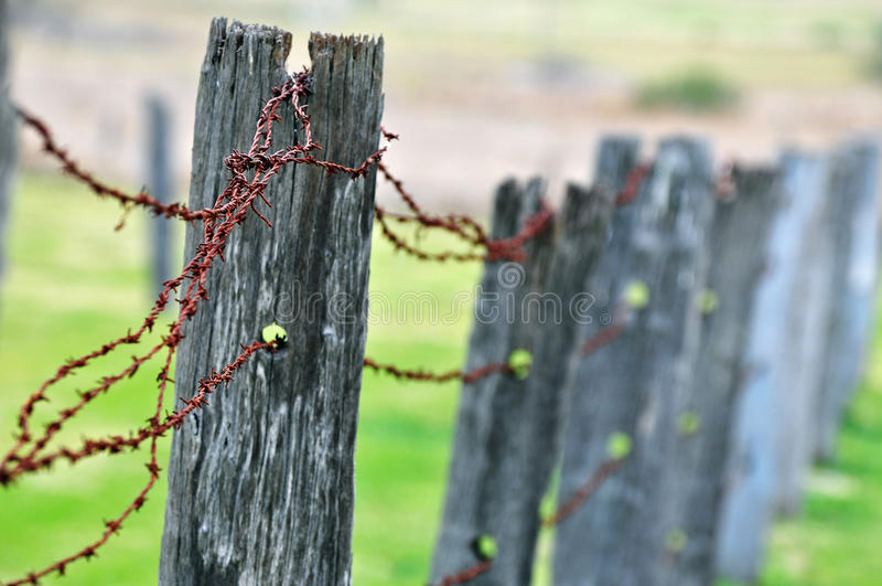Download Rundown Old Rustic Post Barb Wire Fence Stock Photo