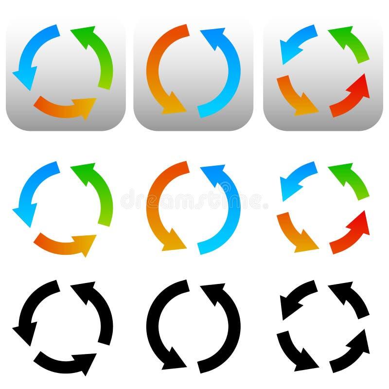 Rundschreiben, Kreispfeilikonen, Symbole Buntes und schwarzes versio vektor abbildung