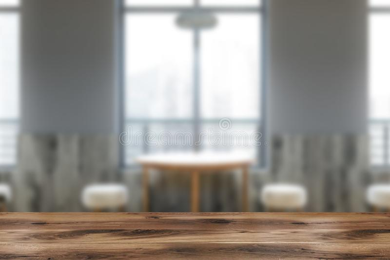 Rundtisch in der hellgrauen Caféunschärfe vektor abbildung