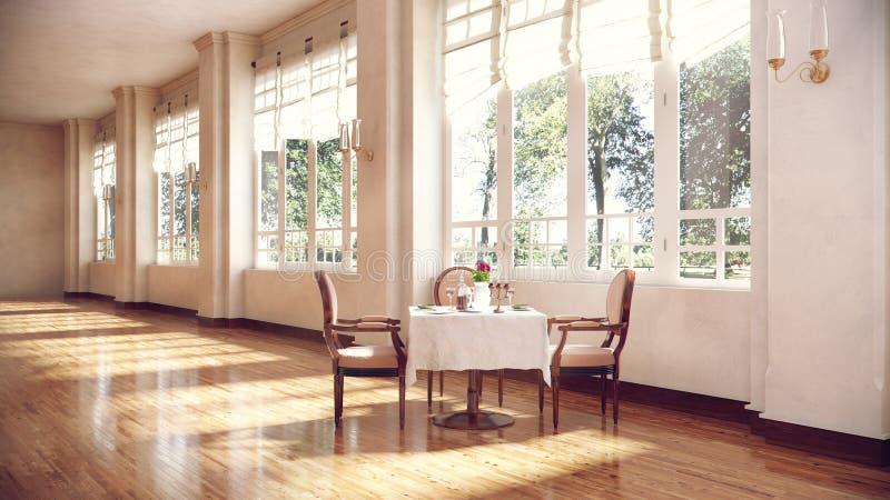 Rundtisch und Stühle im Konferenzsaalinnenraum lizenzfreie abbildung