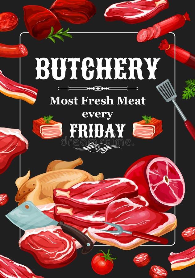 Rundvlees en varkensvleesvlees, worsten en bestek royalty-vrije illustratie