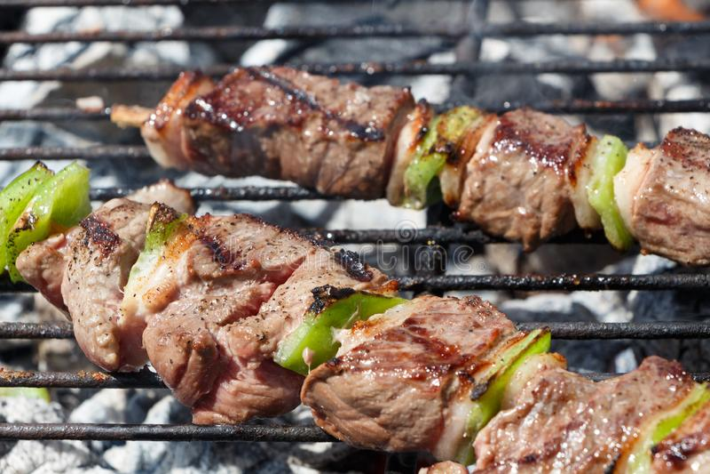 Rundvleesbrochettes op barbecue royalty-vrije stock afbeelding