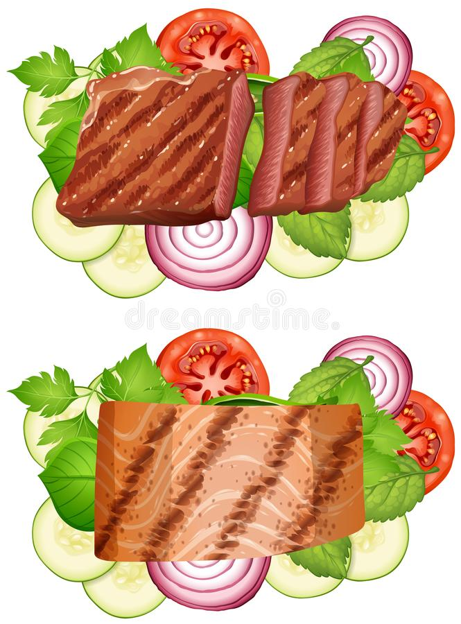 Rundvleeslapje vlees en zalmlapje vlees met groenten stock illustratie