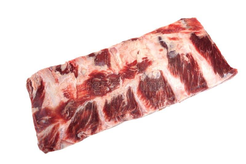 Rundvleesvlees Ruw Zwart Angus Marbled Beef Ribs Isolated royalty-vrije stock afbeeldingen