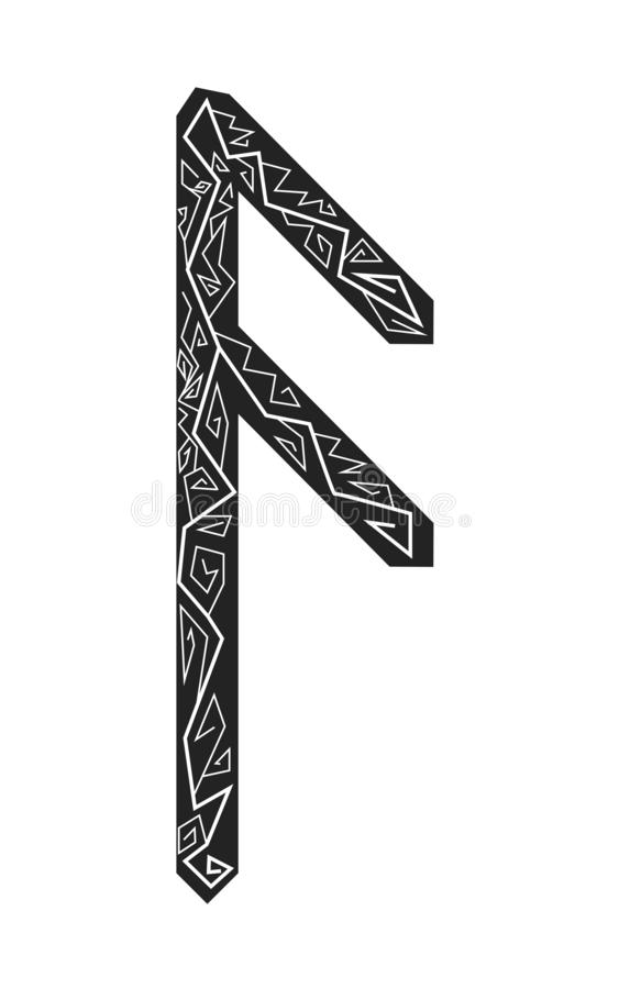 Rune Ansuz. Ancient Scandinavian runes. Runes senior futarka. Magic, ceremonies, religious symbols. Predictions and amulets. Ornament lightning. White stock illustration