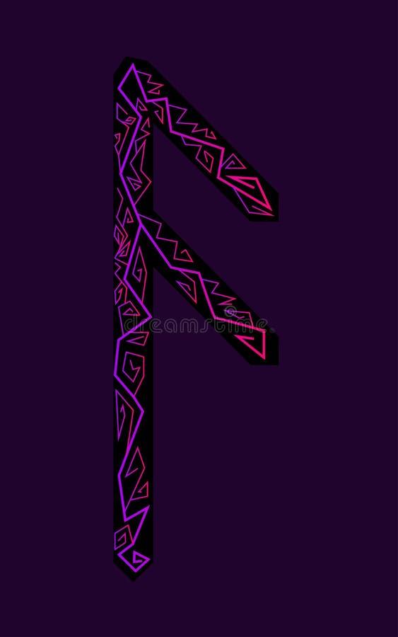 Rune Ansuz. Ancient Scandinavian runes. Runes senior futarka. Magic, ceremonies, religious symbols. Predictions and amulets. Ornament lightning. Dark vector illustration