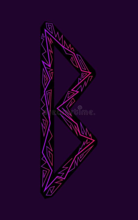 Rune Berkana. Ancient Scandinavian runes. Runes senior futarka. Magic, ceremonies, religious symbols. Predictions and amulets. Ornament lightning. Dark vector illustration