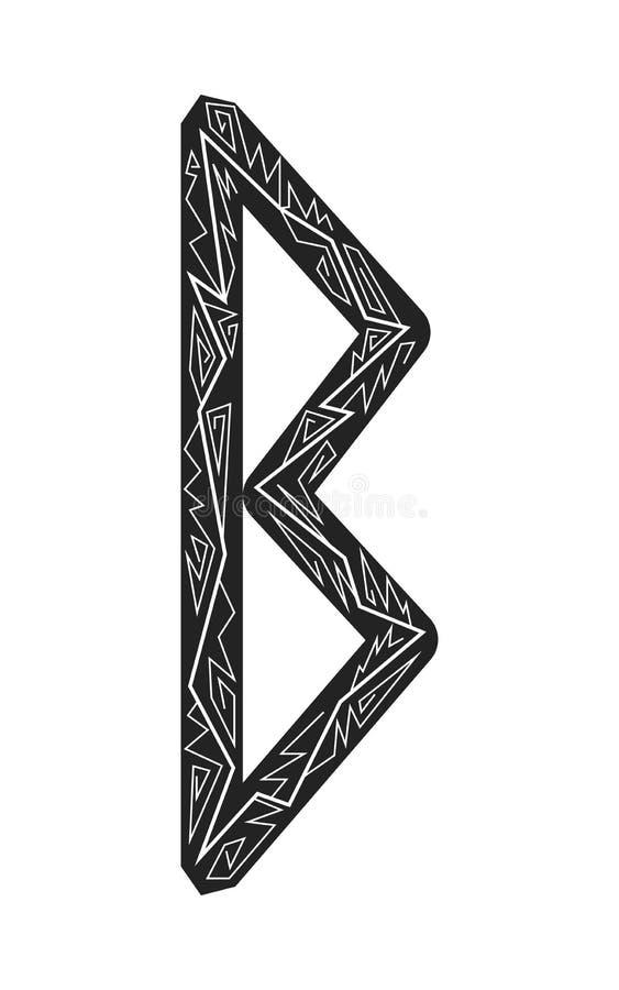 Rune Berkana. Ancient Scandinavian runes. Runes senior futarka. Magic, ceremonies, religious symbols. Predictions and amulets. Ornament lightning. White vector illustration