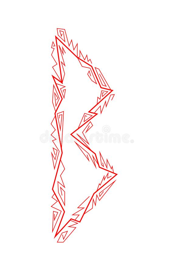 Rune Berkana. Ancient Scandinavian runes. Runes senior futarka. Magic, ceremonies, religious symbols. Predictions and amulets. White background and red vector illustration