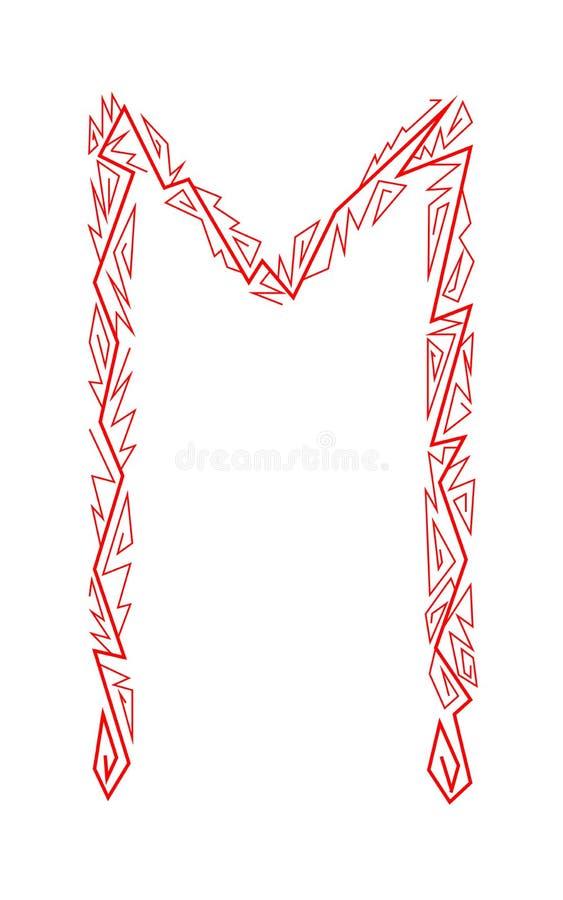 Rune Ehwaz. Ancient Scandinavian runes. Runes senior futarka. Magic, ceremonies, religious symbols. Predictions and amulets. White background and red ornament royalty free illustration