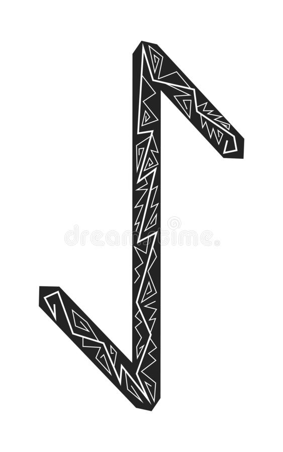 Rune Eihwaz. Ancient Scandinavian runes. Runes senior futarka. Magic, ceremonies, religious symbols. Predictions and amulets. Ornament lightning. White royalty free illustration