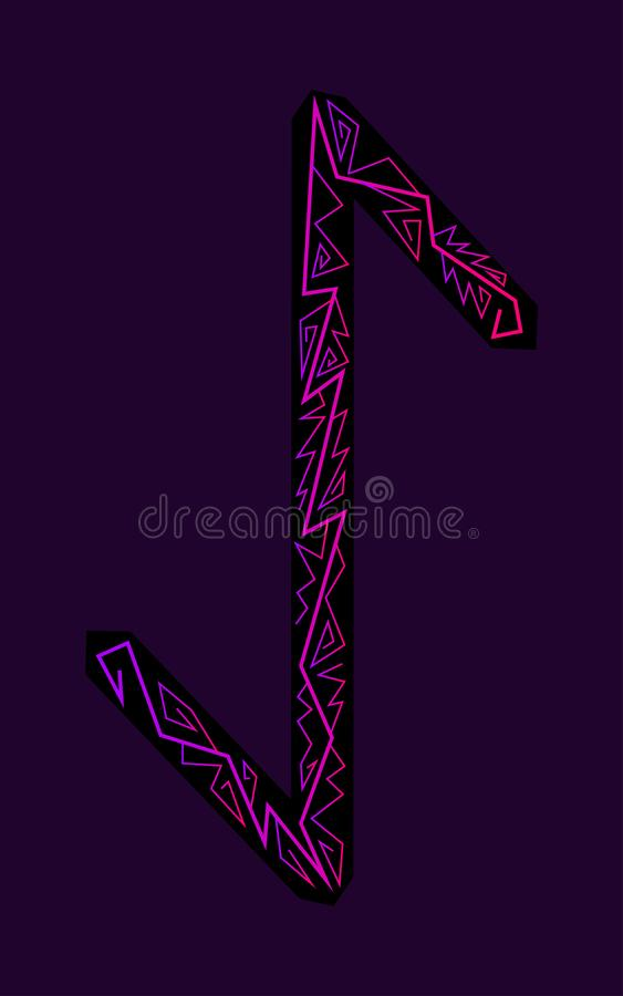 Rune Eihwaz. Ancient Scandinavian runes. Runes senior futarka. Magic, ceremonies, religious symbols. Predictions and amulets. Ornament lightning. Dark stock illustration