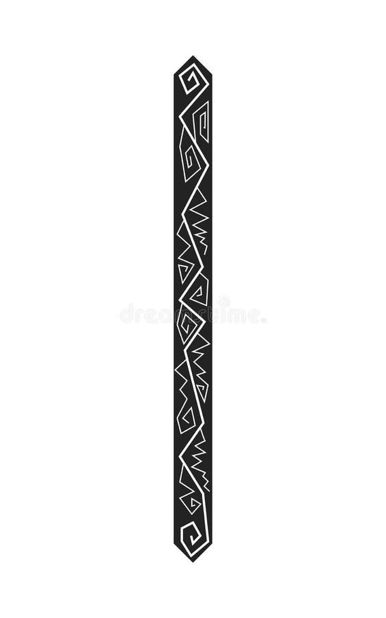 Rune Isa. Ancient Scandinavian runes. Runes senior futarka. Magic, ceremonies, religious symbols. Predictions and amulets. Ornament lightning. White background royalty free illustration