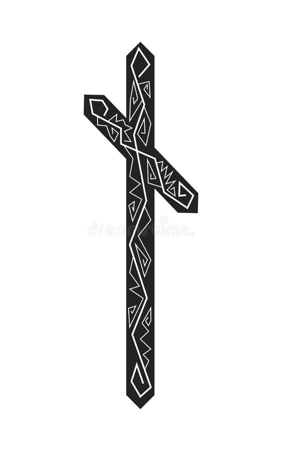 Rune Nauthiz. Ancient Scandinavian runes. Runes senior futarka. Magic, ceremonies, religious symbols. Predictions and amulets. Ornament lightning. White stock illustration