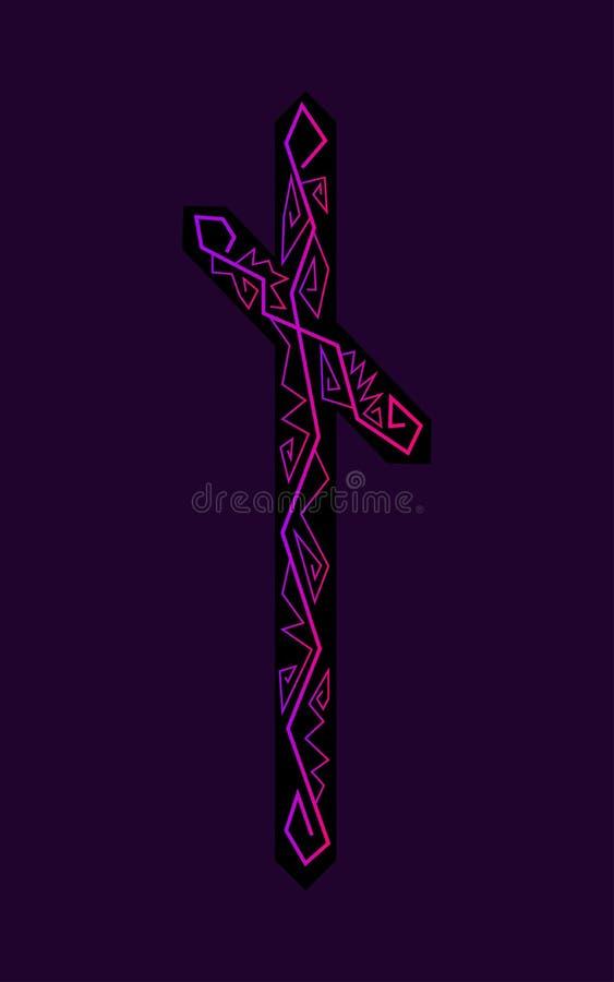 Rune Nauthiz. Ancient Scandinavian runes. Runes senior futarka. Magic, ceremonies, religious symbols. Predictions and amulets. Ornament lightning. Dark royalty free illustration