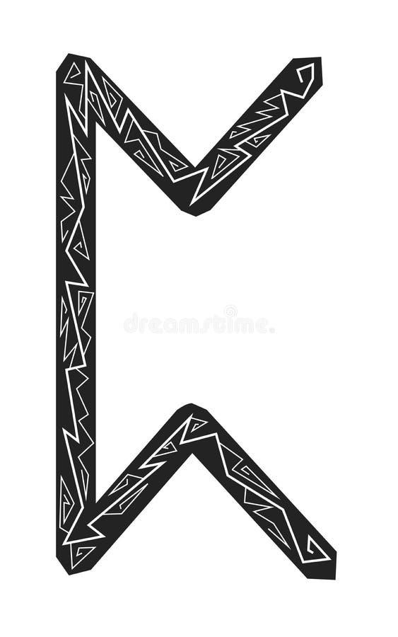 Rune Perth. Ancient Scandinavian runes. Runes senior futarka. Magic, ceremonies, religious symbols. Predictions and amulets. Ornament lightning. White stock illustration