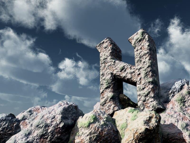 Rune rock under cloudy blue sky - 3d illustration. Rune rock under cloudy blue sky royalty free illustration
