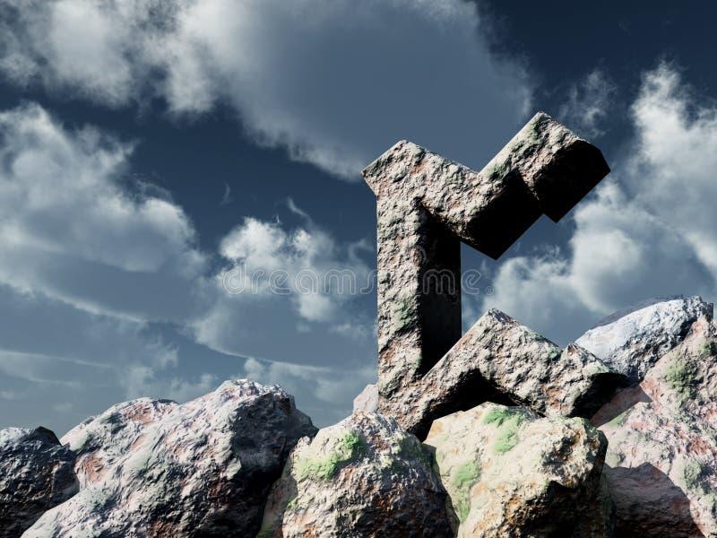 Rune rock under cloudy blue sky. 3d illustration royalty free illustration