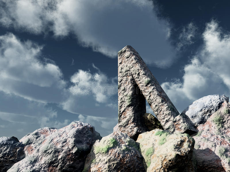 Rune rock under cloudy blue sky. 3d illustration stock illustration